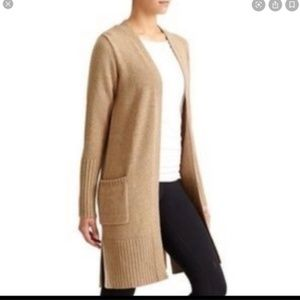 Athleta Long Light Brown Fine Wool Cardigan L